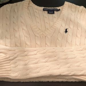Polo Creme Cable Knit V-neck Sweater